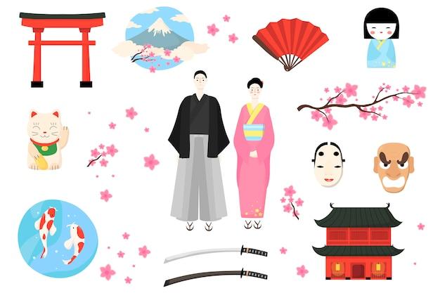 Japan-ikone, japanische volksillustration, karikaturfrau-manncharakter in traditioneller tracht, asiatische kultur gesetzt lokalisiert auf weiß