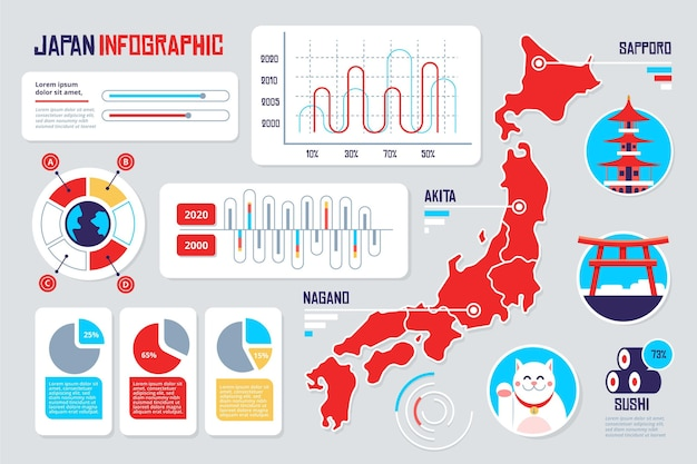 Japan karte infografik vorlage