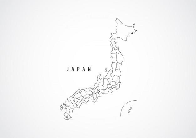 Japan-kartenentwurf auf weißem hintergrund.