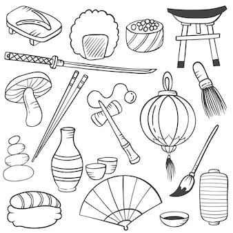 Japan land oder nation doodle handgezeichnete set-sammlungen mit umriss-schwarz-weiß-stil-vektor-illustration