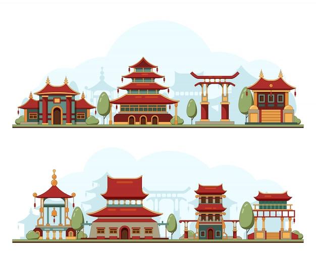 Japan landschaft. traditionelle porzellan-kulturgebäude-architekturschablonenpagodenpalasthintergrundillustration