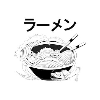 Japan-nudel-schwarz-weiß-illustration für thsirt