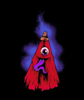 Japan regenschirm ghost illustration t-shirt premium-vektor
