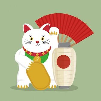 Japan-reise mit glücklichem katzenfan des symbols