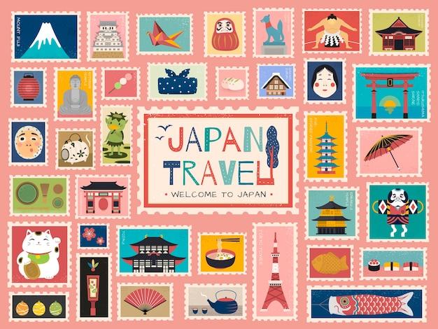 Japan reisekonzept briefmarke, schöne japanische traditionelle symbole in briefmarkenform, bunt