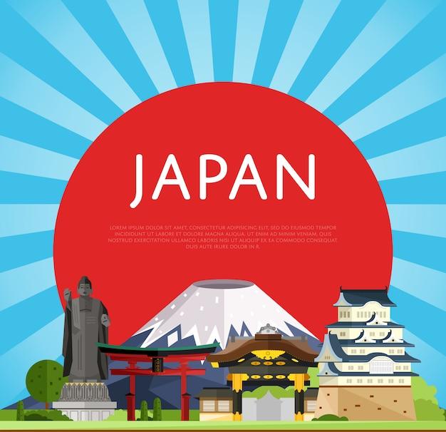Japan-reisekonzept mit berühmten asiatischen gebäuden