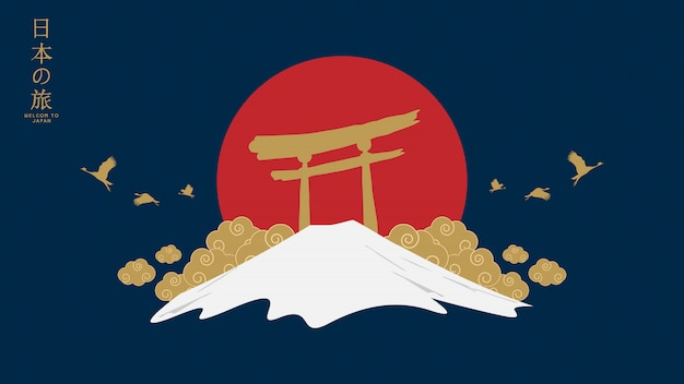 Japan-tempel und gebirgsillustration