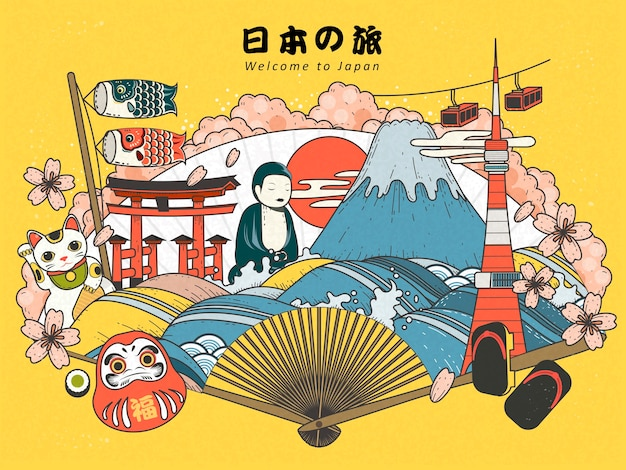 Japan tourismus plakat design mit attraktionen