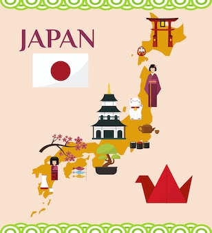 Japan-tourismus und reiseillustration. karte von japan mit japanischen marksteinen und symbolen. itsukushima-schrein, flagge, sakura, pagode, bonsai, maneki neko.