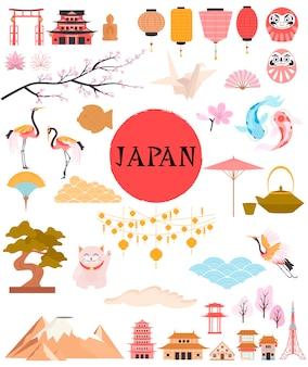 Japan traditionelle berühmte elemente und symbole sammlung willkommen in japan