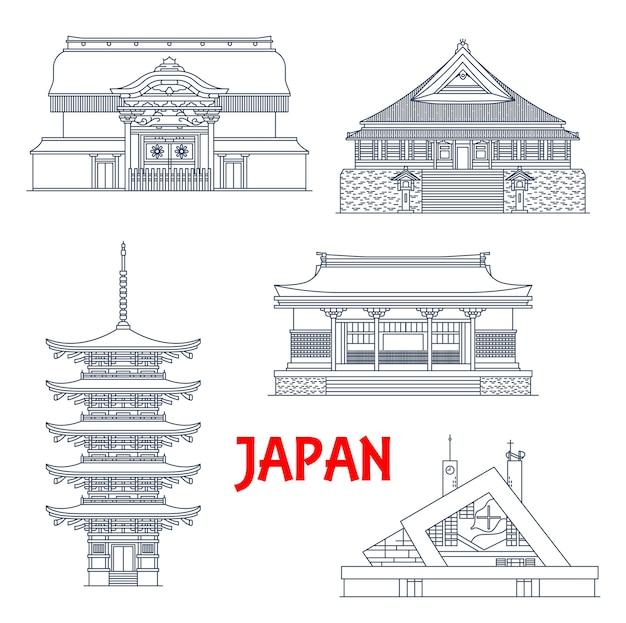 Japan wahrzeichen, tempel und pagoden ikonen