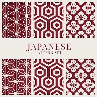 Japanisch-inspirierter Mustervektorsatz
