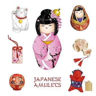 Japanische amulette: kokeshi, glückliche katze, omamori, daruma, saruboba