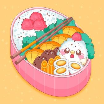 Japanische brotdose gefüllt mit food kawaii design