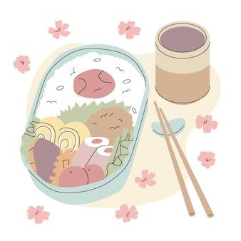 Japanische brotdose gefüllt mit lebensmittelhand gezeichnet