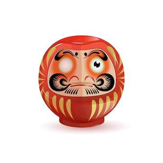 Japanische daruma figur mit einem auge.