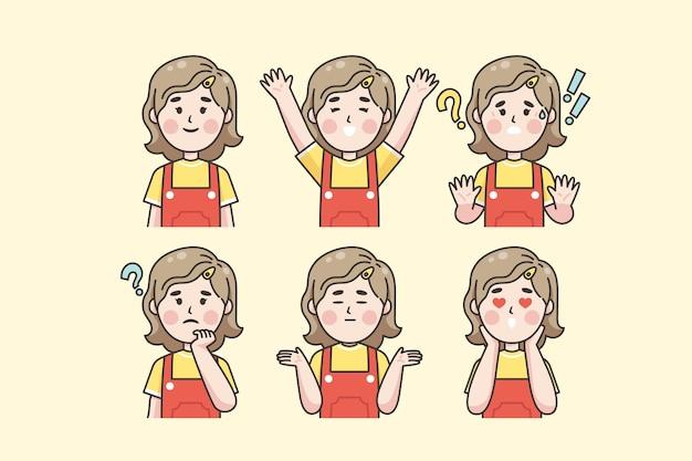 Japanische frau, die verschiedene gefühle zeigt
