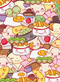 Japanische gastronomie hintergrund kawaii cartoons