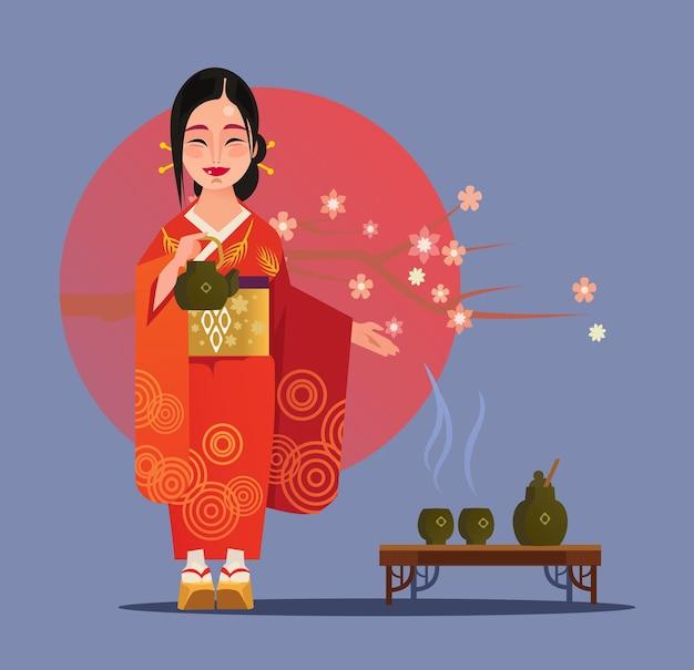 Japanische geisha-charakter und flache karikaturillustration der teezeremonie cartoon