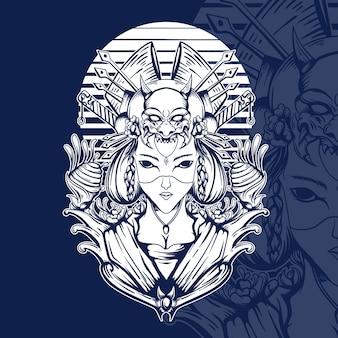 Japanische geisha-illustration