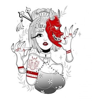 Japanische geisha in einer gruseligen dämonenmaske