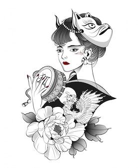 Japanische geisha in einer maske eines dämonenfuchses