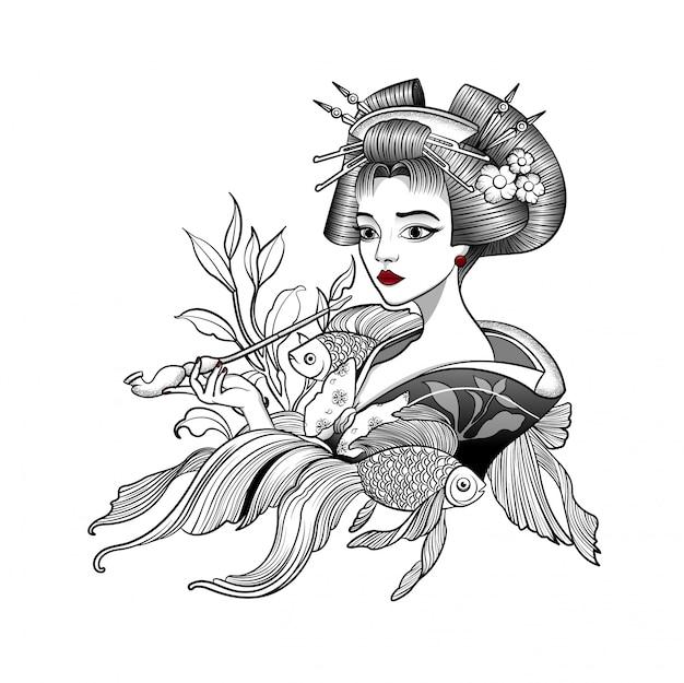 Japanische geisha raucht eine pfeife und träumt