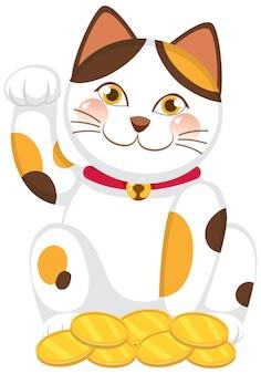 Japanische glückliche katze maneki neko zeichentrickfigur isoliert