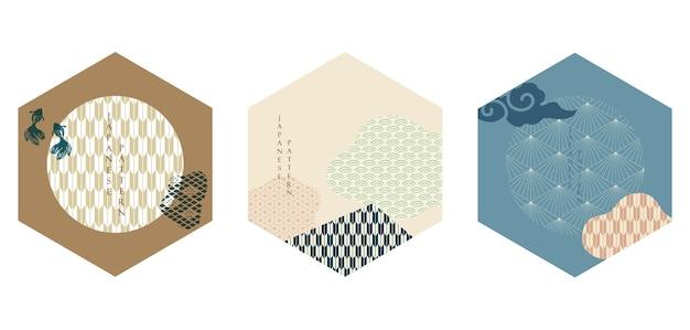Japanische ikone mit geometrischem muster. asiatischer abstrakter hintergrund mit wolkenelementen.