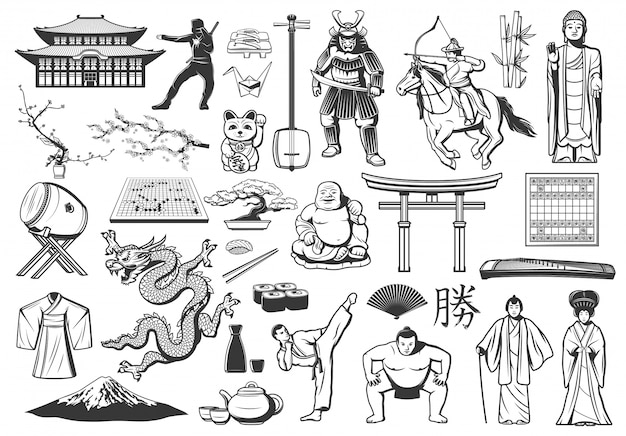 Japanische ikonen mit asiatischem essen, religion und kultur