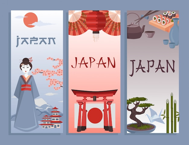 Japanische illustrationskarten oder -plakat