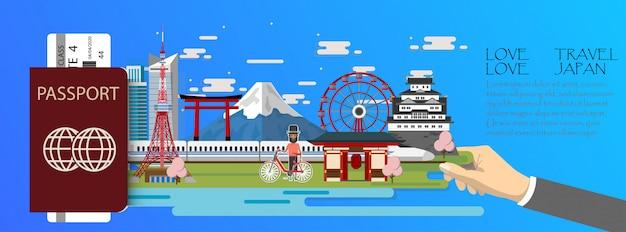Japanische infografik mit reiseinformationen
