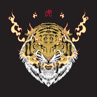 Japanische inspirierende hand gezeichnete tigerillustration