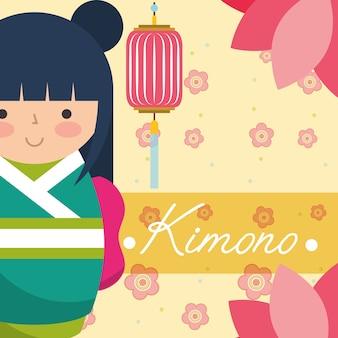 Japanische japanische puppe kokeshi in einem grünen kimono