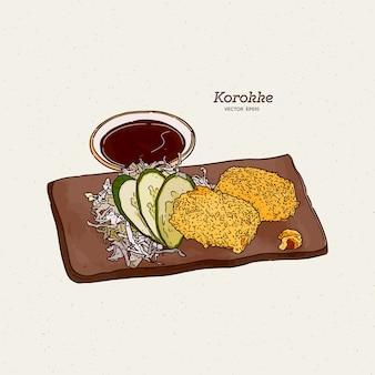 Japanische kartoffelkroketten oder korokke ist ein japanisches gebratenes lebensmittel aus kartoffelpüree mit panko-krümel, karotten, zwiebeln und hackfleisch. handzeichnung skizze.