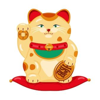 Japanische katze des glücks, symbol des reichtums, wohlbefinden im cartoon-stil, isoliert auf weiss.