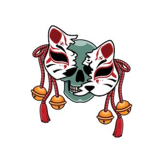 Japanische kitsune-maske mit totenkopf
