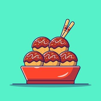 Japanische köstliche takoyaki-oktopus-kugeln in einer schüssel flache symbol-illustration isoliert