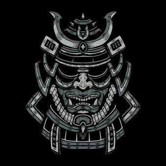 Japanische kriegermaske illustration