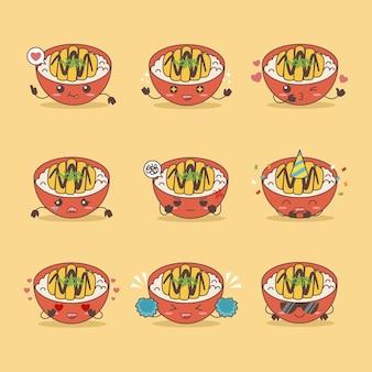 Japanische küche huhn katsu reisschüssel vektor-illustration set symbol mit verschiedenen ausdrücken