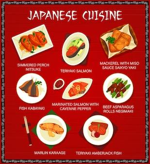 Japanische küche, japan-mahlzeiten-cartoon-vektor-menü