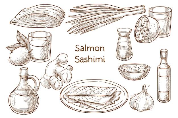 Japanische küche. salvon sashimi. zutaten. skizzieren