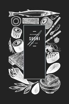 Japanische küche vorlage. gezeichnete illustration der sushi hand auf kreidebrett. retro-stil sian essen.