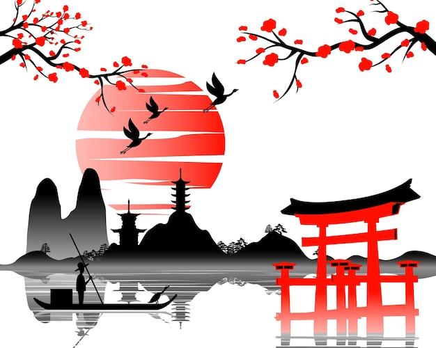 Japanische kunst mit altem design des torii-tors und der wunderschönen natur japans