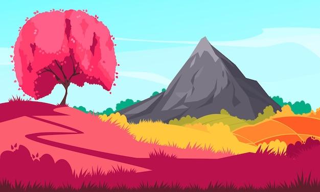Japanische landschaftskomposition mit klarem himmel und berg im freien mit blühendem sakura-baum und wald