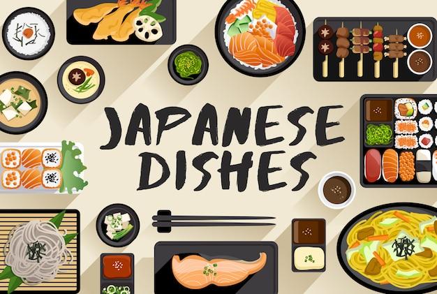 Japanische lebensmittel-lebensmittel-illustration in der draufsicht-vektor-illustration