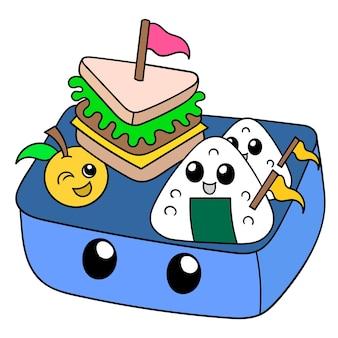 Japanische lunchbox mit japanischem essen, vektorgrafiken. doodle symbolbild kawaii.