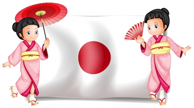 Japanische mädchen und flagge