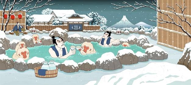 Japanische männer im ukiyo-e-stil und süße affen, die heiße quellen und sake im freien genießen, schöne verschneite winterlandschaft