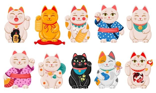 Japanische maneki-neko-katzen. cartoon glückliches japanisches traditionelles katzenspielzeug